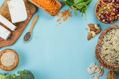 Selectie van vegetarische eiwitbronnen - concent gezonde voeding Royalty-vrije Stock Fotografie