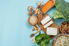 Selectie van vegetarische eiwitbronnen - concent gezonde voeding Stock Fotografie