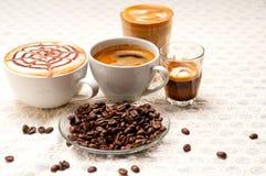 Selectie van verschillend koffietype royalty-vrije stock foto's