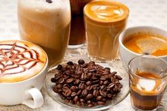 Selectie van verschillend koffietype stock afbeeldingen