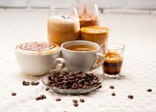 Selectie van verschillend koffietype royalty-vrije stock afbeelding