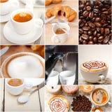 Selectie van verschillend koffietype op collagesamenstelling stock afbeeldingen