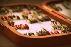 Selectie van vliegen in houten doos forel en het grayling stock foto's