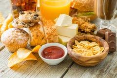 Selectie van voedsel die voor uw gezondheid slecht is Royalty-vrije Stock Fotografie