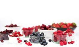 Selectie van vruchten & bessen stock afbeelding