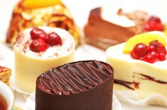Selectie van zoete cakes Stock Foto's