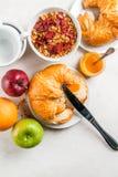 Selectieproducten voor continentaal ontbijt stock fotografie