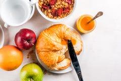 Selectieproducten voor continentaal ontbijt royalty-vrije stock fotografie