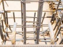 Selectieve geconcentreerde staalstaven in gewapend beton positie en kolom Stock Afbeelding
