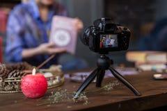 Selectieve nadruk van een camera die een video registreren royalty-vrije stock afbeelding