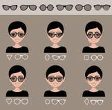 Selectiezonnebril aan verschillende vormen van een gezicht Royalty-vrije Stock Afbeelding
