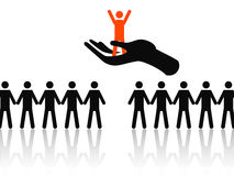 Selecting the best job candidate. Hand holding the best candidate from some job candidates royalty free illustration