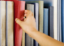 Selecting a book Royalty Free Stock Image