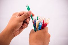 Selecting cable Stock Photo
