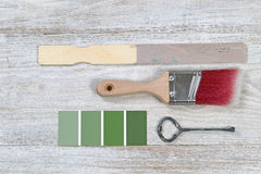 Selecting color to paint wooden boards Royalty Free Stock Photos