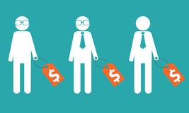 Selecting an employee. Man in glasses and tie with a price tag Royalty Free Stock Photos