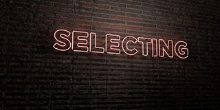 SELECTING -Realistic Neon Sign on Brick Wall background - 3D rendered royalty free stock image. Can be used for online banner ads and direct mailers Royalty Free Stock Photo
