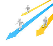 Selecting the right direction. 3D People goes to success Stock Photography