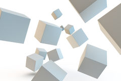 Selection of 3d rendered cubes coming towards camera. Abstract background of white cubes falling in space Stock Photography