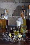 Selection of alcoholic drinks. Set of wine, brandy, liqueur, tincture, cognac, whiskey in glasses, bottles. Large variety of alcoh royalty free stock photography