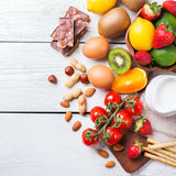 Selection of allergy food, healthy life concept Stock Images