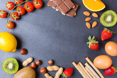 Selection of allergy food, healthy life concept Royalty Free Stock Photo