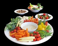 Selection of appetizers. Including vegetables, olives and nuts Stock Photo