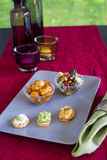 Selection of Appetizers on Square Plate on Table Royalty Free Stock Photography