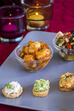 Selection of Appetizers on Square Plate on Table Stock Photography