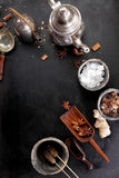Selection of aromatic spices for making tea Stock Photography