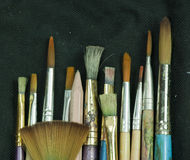 Selection of artist paint brushes Stock Images