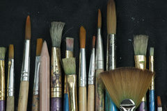 Selection of artist paint brushes Stock Photos