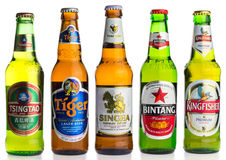 Selection of asian lager beers Royalty Free Stock Photography