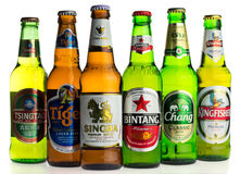 Selection of asian lager beers Royalty Free Stock Photo