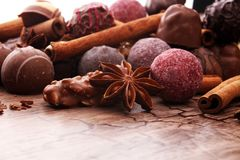 A selection of assorted chocolate truffle pralines on a wooden t. Able with dark chocolate, cinnamon and anise Royalty Free Stock Photography