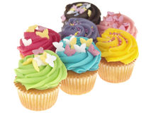 Selection of Iced Cupcakes. Selection assorted iced decorated cupcakes cake party dessert stock photography