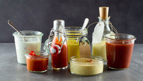 Selection of assorted sauces and dressings Royalty Free Stock Photo
