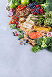 Selection assortment of healthy balanced food for heart, diet Stock Photography