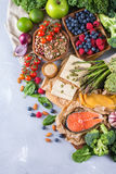 Selection assortment of healthy balanced food for heart, diet Royalty Free Stock Images
