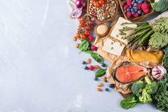 Selection assortment of healthy balanced food for heart, diet Royalty Free Stock Image