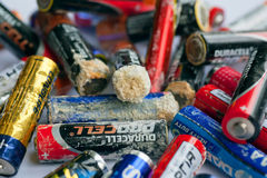 Selection of batteries with blurs of oxidation. Stock Photography