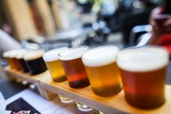 Selection of beers. On a tasting mat stock image