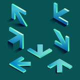 Selection of blue arrows vector isometric Royalty Free Stock Photography