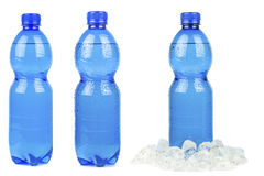 A selection of blue bottles of mineral water Stock Photos