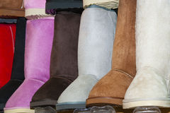 Selection of boots at a shoe stall Stock Photography