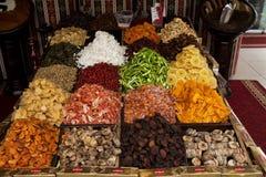Dried fruits in a market in Side Turkey. A selection of boxes containing dried fruits in a market in Side Turkey Stock Photo