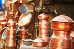 Selection of bronze teapots on Moroccan market Stock Photo