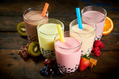 Selection of bubble tea in a tea house Royalty Free Stock Photography