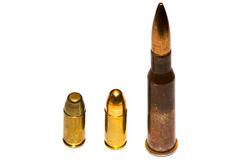 Selection of bullets. A selection of bullets isolated on white background stock photos