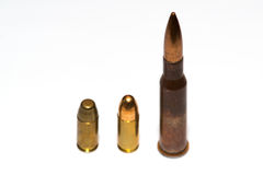 Selection of bullets. A selection of bullets isolated on white background royalty free stock image